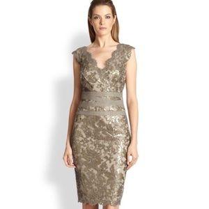 Tadashi Shoji Paillette Gold Sequin Lace Dress